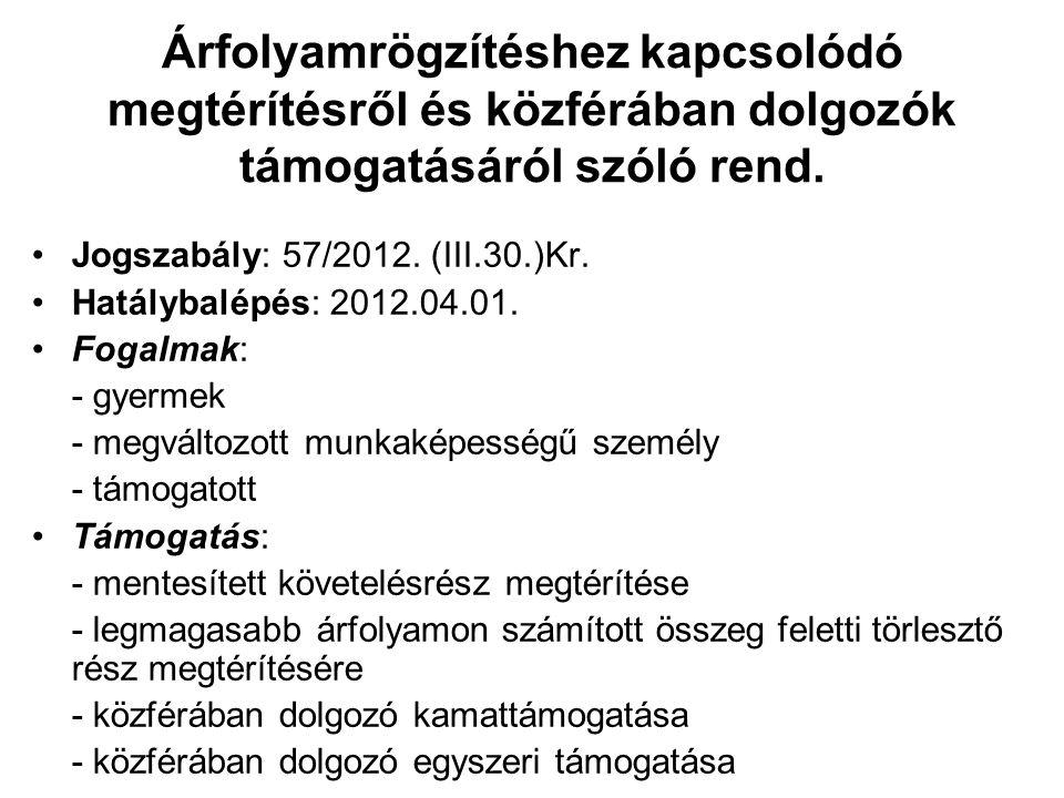 Árfolyamrögzítéshez kapcsolódó megtérítésről és közférában dolgozók támogatásáról szóló rend. •Jogszabály: 57/2012. (III.30.)Kr. •Hatálybalépés: 2012.
