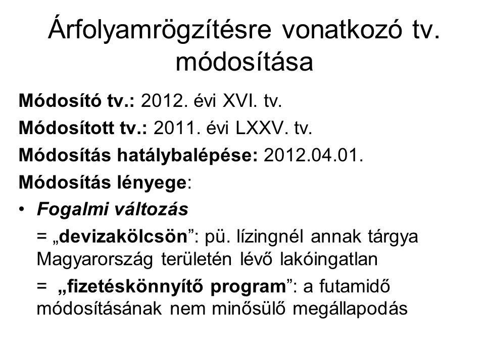 Árfolyamrögzítésre vonatkozó tv. módosítása Módosító tv.: 2012. évi XVI. tv. Módosított tv.: 2011. évi LXXV. tv. Módosítás hatálybalépése: 2012.04.01.