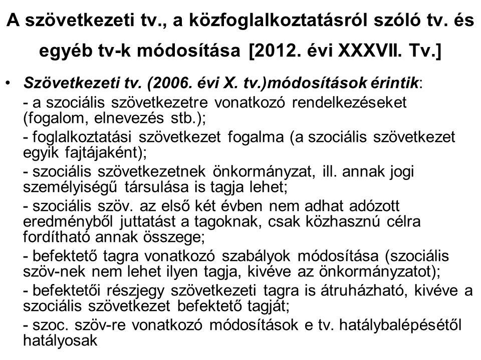 A szövetkezeti tv., a közfoglalkoztatásról szóló tv. és egyéb tv-k módosítása [2012. évi XXXVII. Tv.] •Szövetkezeti tv. (2006. évi X. tv.)módosítások
