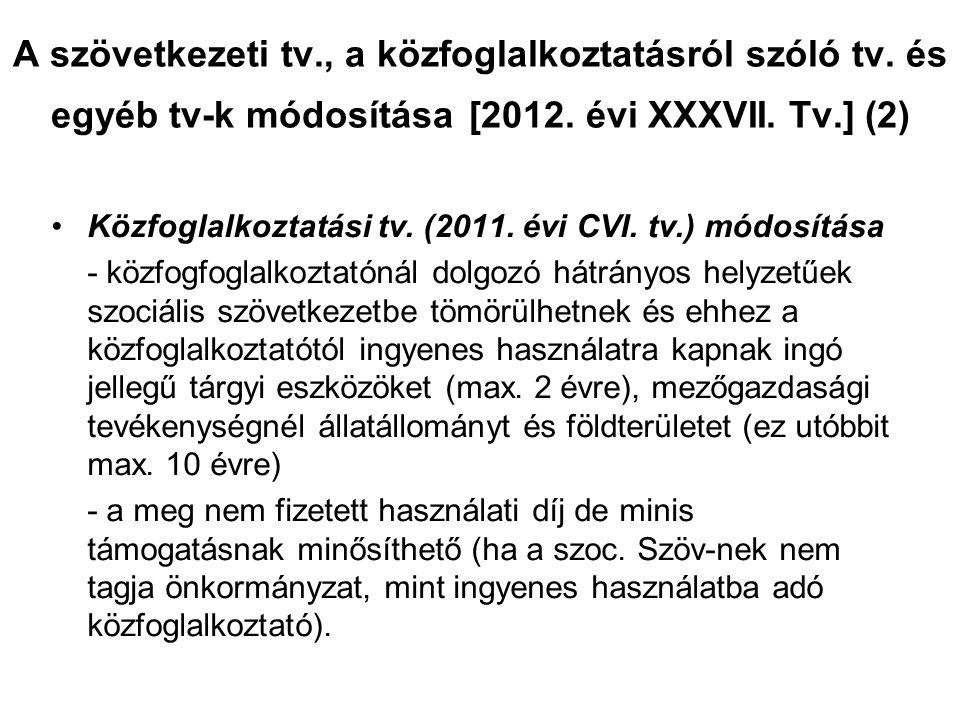 A szövetkezeti tv., a közfoglalkoztatásról szóló tv. és egyéb tv-k módosítása [2012. évi XXXVII. Tv.] (2) •Közfoglalkoztatási tv. (2011. évi CVI. tv.)