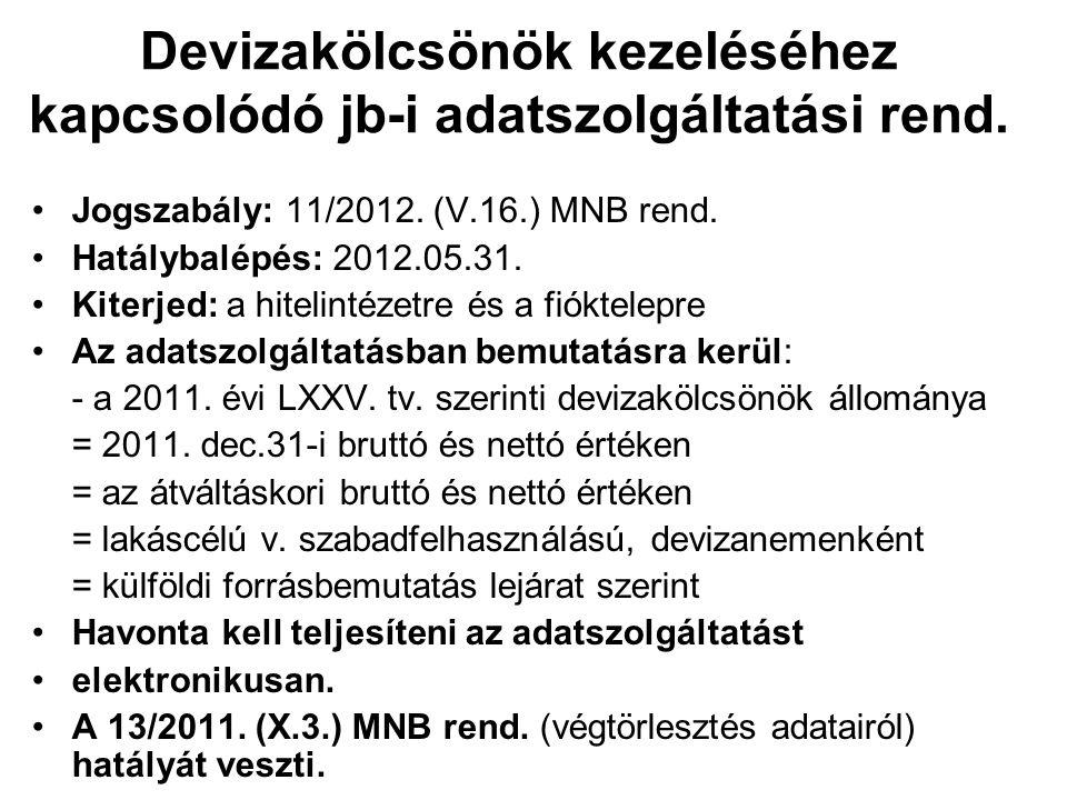 Devizakölcsönök kezeléséhez kapcsolódó jb-i adatszolgáltatási rend. •Jogszabály: 11/2012. (V.16.) MNB rend. •Hatálybalépés: 2012.05.31. •Kiterjed: a h
