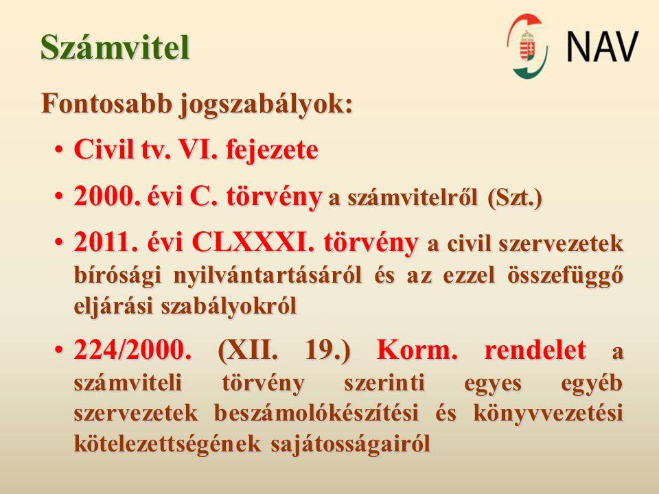 Számvitel Fontosabb jogszabályok: •Civil tv.VI. fejezete •2000.