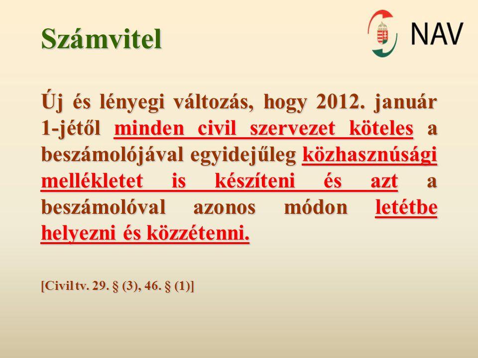 Számvitel Új és lényegi változás, hogy 2012. január 1-jétől minden civil szervezet köteles a beszámolójával egyidejűleg közhasznúsági mellékletet is k