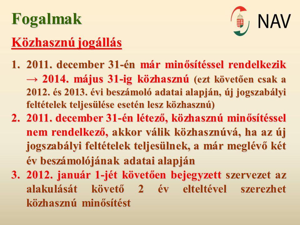 Fogalmak Közhasznú jogállás 1.2011. december 31-én már minősítéssel rendelkezik → 2014. május 31-ig közhasznú (ezt követően csak a 2012. és 2013. évi