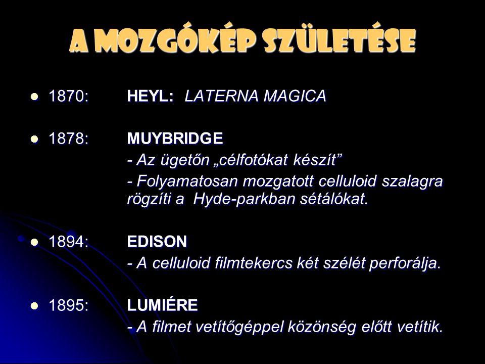 """A mozgókép születése  1870: HEYL: LATERNA MAGICA  1878:MUYBRIDGE - Az ügetőn """"célfotókat készít"""" - Folyamatosan mozgatott celluloid szalagra rögzíti"""