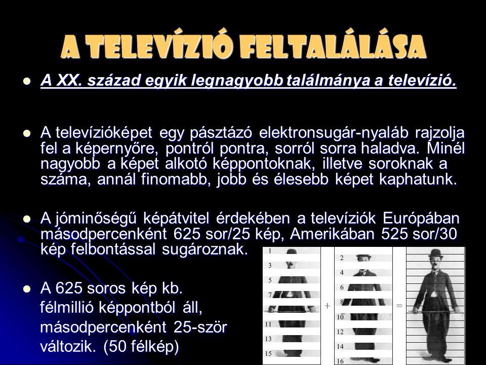 A televízió feltalálása  A XX. század egyik legnagyobb találmánya a televízió.  A televízióképet egy pásztázó elektronsugár-nyaláb rajzolja fel a ké
