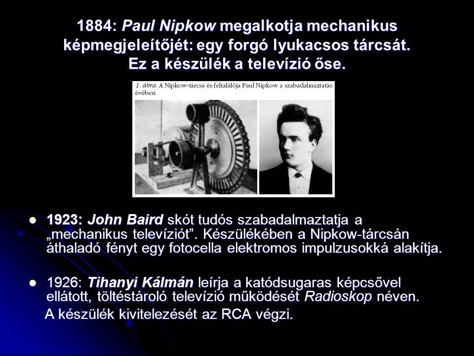 1884: Paul Nipkow megalkotja mechanikus képmegjeleítőjét: egy forgó lyukacsos tárcsát. Ez a készülék a televízió őse.  1923: John Baird skót tudós sz