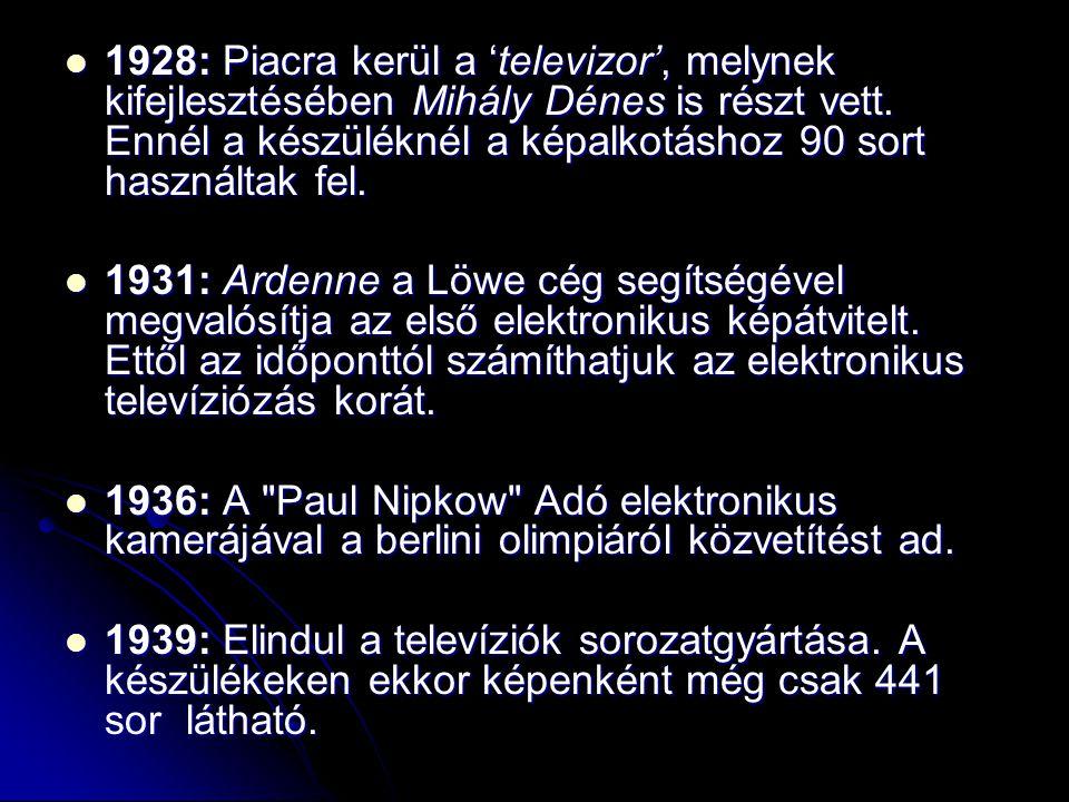  1928: Piacra kerül a 'televizor', melynek kifejlesztésében Mihály Dénes is részt vett. Ennél a készüléknél a képalkotáshoz 90 sort használtak fel. 