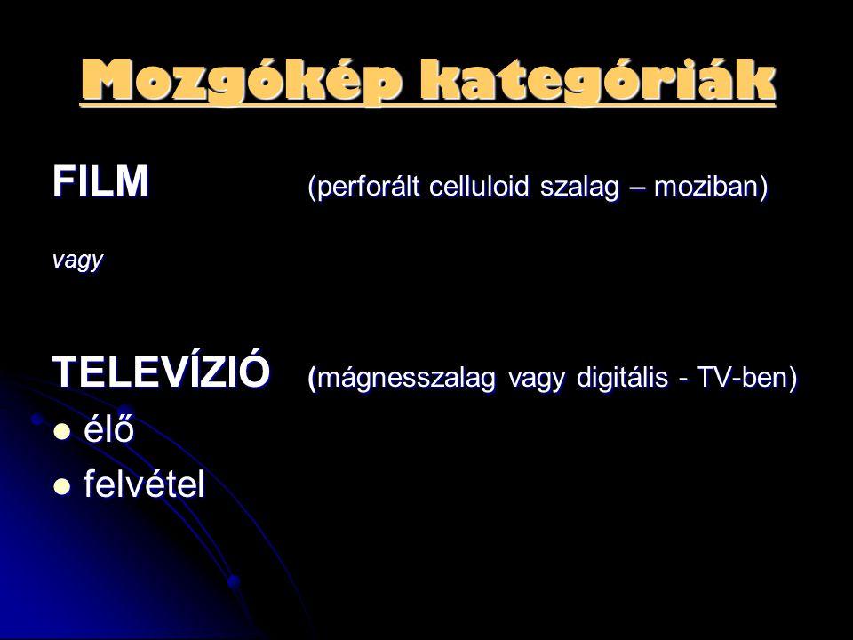 Mozgókép kategóriák FILM (perforált celluloid szalag – moziban) vagy TELEVÍZIÓ (mágnesszalag vagy digitális - TV-ben)  élő  felvétel