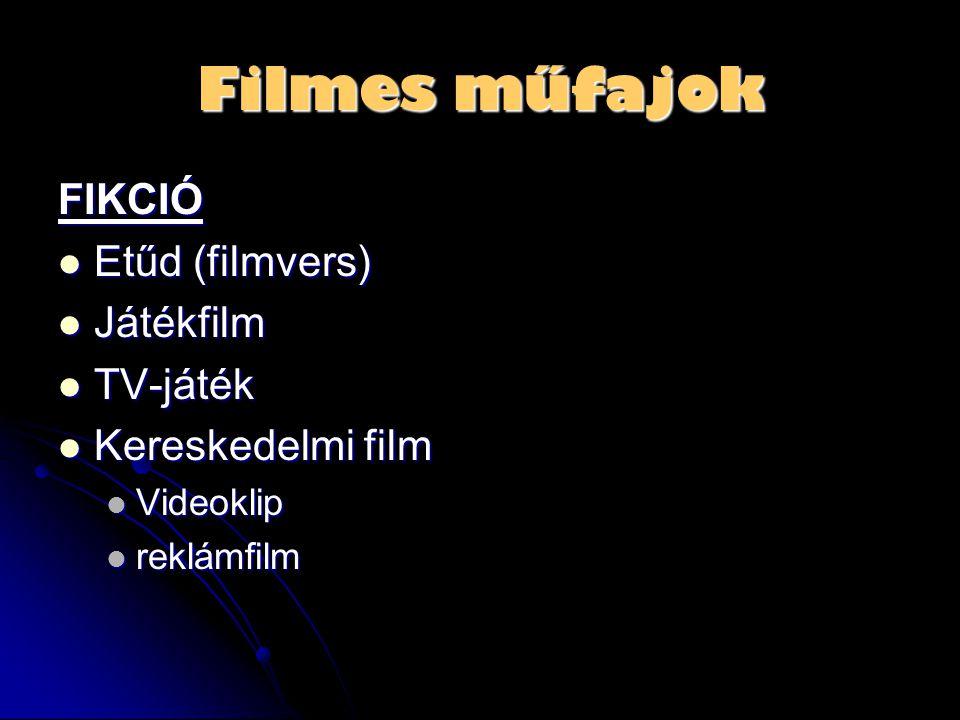 Filmes műfajok FIKCIÓ  Etűd (filmvers)  Játékfilm  TV-játék  Kereskedelmi film  Videoklip  reklámfilm
