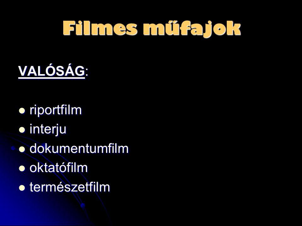 Filmes műfajok VALÓSÁG:  riportfilm  interju  dokumentumfilm  oktatófilm  természetfilm