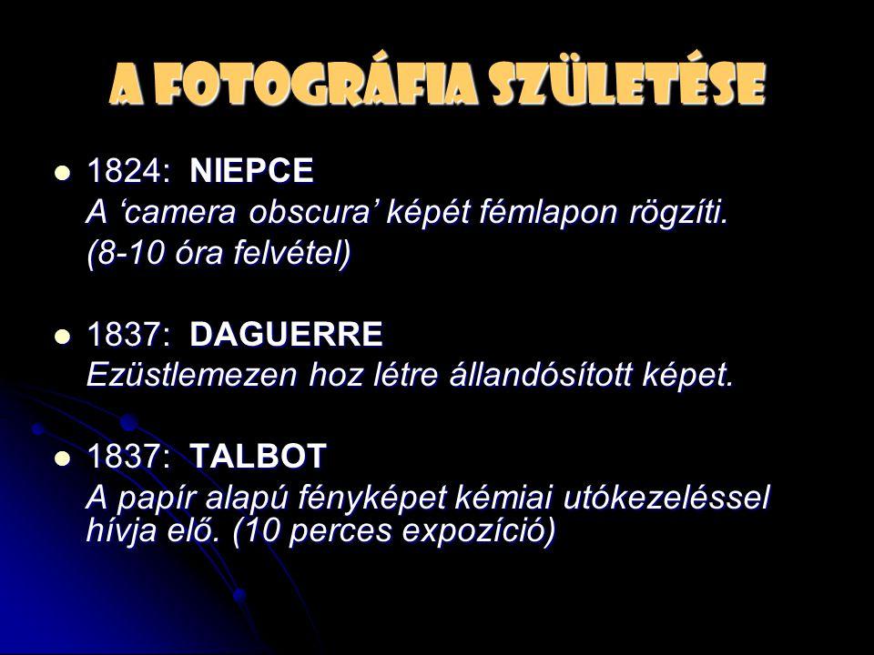 A fotográfia születése  1824: NIEPCE A 'camera obscura' képét fémlapon rögzíti. (8-10 óra felvétel)  1837: DAGUERRE Ezüstlemezen hoz létre állandósí