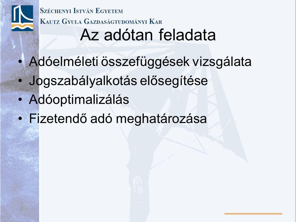A mai magyar adórendszer kialakulása 1988 – Negyedik adóreform •Közeledés a nyugat-európai adórendszerekhez •Korszerű eszközök az új gazdaságpolitikához •Közvetlen adók szerepe csökken •Közvetett adók szerepe nő