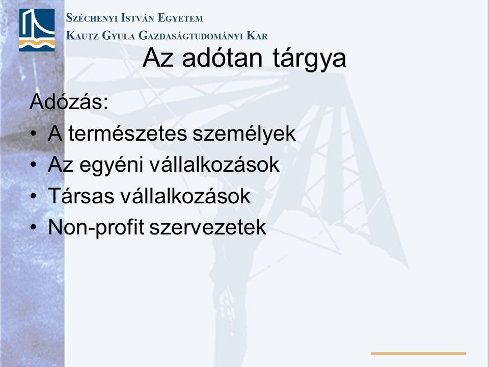 A mai magyar adórendszer kialakulása 1988 – Negyedik adóreform •Személyi jövedelemadó •Általános forgalmi adó •Vállalkozási nyereségadó •Társulati adó •Társulati különadó •Földadó •Játék és pénznyerő automaták kereskedelmi adója •Gépjárműadó •Szeszadó •Építményadó, telekadó, kommunális adók, iparűzési adó, idegenforgalmi adók •Vagyonszerzési illeték stb.