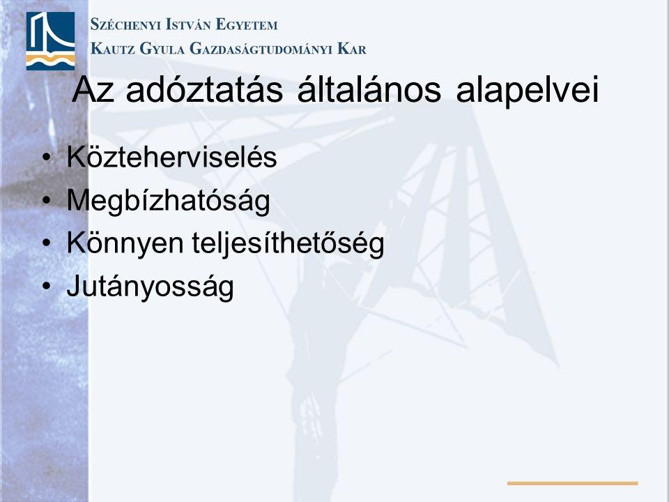 A mai magyar adórendszer kialakulása 1945-57 Harmadik adóreform •Az adórendszer szocialista irányú fejlesztése •Magánvállalkozósok terhének növelése, állami szektor terhének csökkentése •Külföldi tulajdonú vállalatok adóterhének növelése •Közvetlen adók szerepe nő •Vagyon, járadék, öröklés terhei növekednek •Jövedelem átcsoportosítás (mg-ból iparba) •Kiszámíthatatlan adórendszer