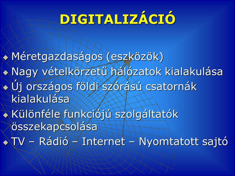 DIGITALIZÁCIÓ  Méretgazdaságos (eszközök)  Nagy vételkörzetű hálózatok kialakulása  Új országos földi szórású csatornák kialakulása  Különféle funkciójú szolgáltatók összekapcsolása  TV – Rádió – Internet – Nyomtatott sajtó