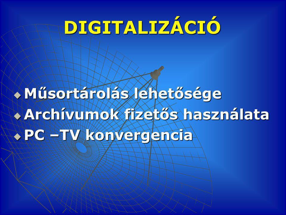 DIGITALIZÁCIÓ  Műsortárolás lehetősége  Archívumok fizetős használata  PC –TV konvergencia