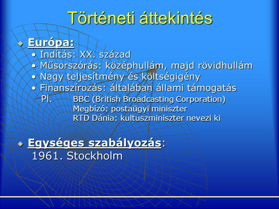 Történeti áttekintés  Európa: •Indítás: XX. század •Műsorszórás: középhullám, majd rövidhullám •Nagy teljesítmény és költségigény •Finanszírozás: ált
