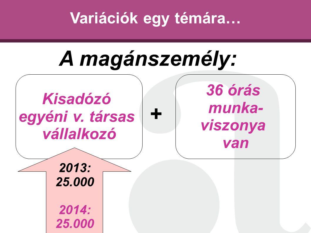 Variációk egy témára… Kisadózó egyéni v. társas vállalkozó 36 órás munka- viszonya van A magánszemély: + 2013: 25.000 2014: 25.000