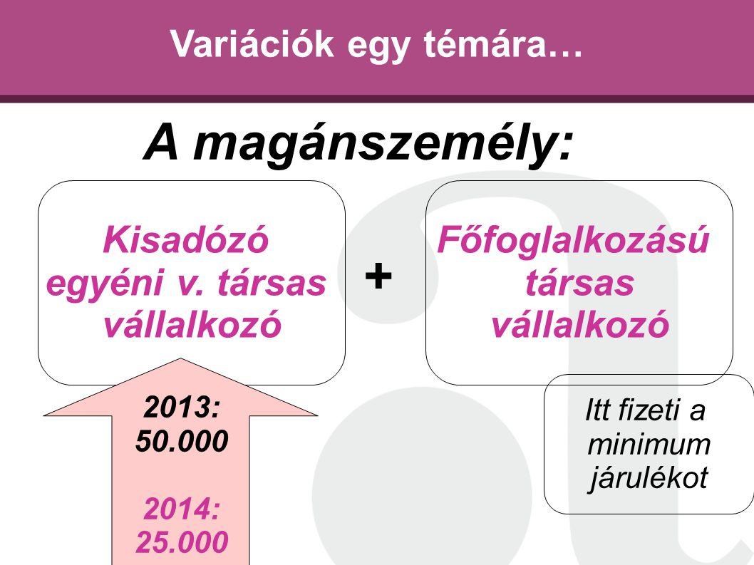 Variációk egy témára… Kisadózó egyéni v. társas vállalkozó Főfoglalkozású társas vállalkozó A magánszemély: + 2013: 50.000 2014: 25.000 Itt fizeti a m