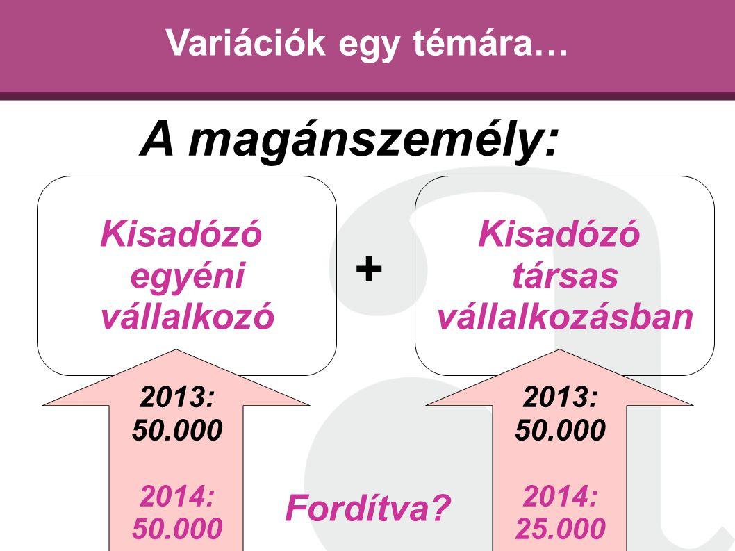 Variációk egy témára… Kisadózó egyéni vállalkozó Kisadózó társas vállalkozásban A magánszemély: + 2013: 50.000 2014: 50.000 2013: 50.000 2014: 25.000