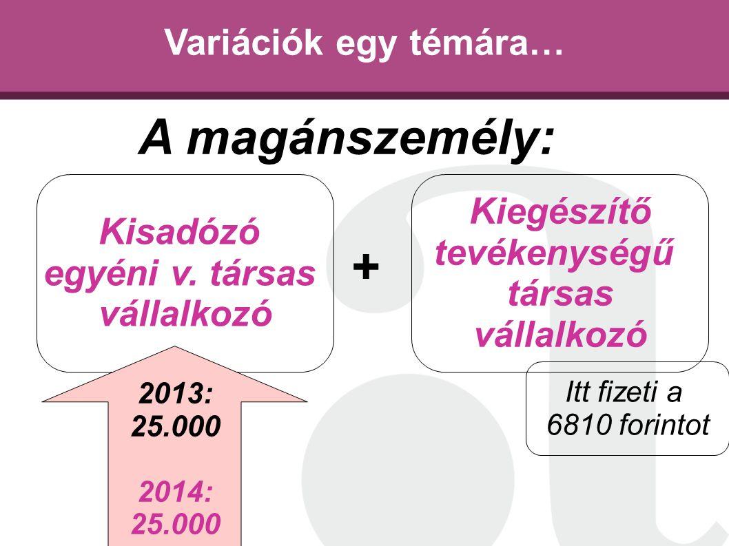 Variációk egy témára… Kisadózó egyéni v. társas vállalkozó Kiegészítő tevékenységű társas vállalkozó A magánszemély: + 2013: 25.000 2014: 25.000 Itt f