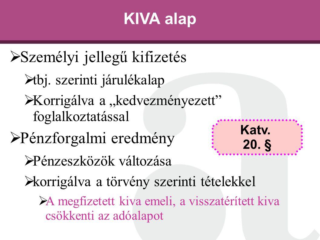 """KIVA alap  Személyi jellegű kifizetés  tbj. szerinti járulékalap  Korrigálva a """"kedvezményezett"""" foglalkoztatással  Pénzforgalmi eredmény  Pénzes"""