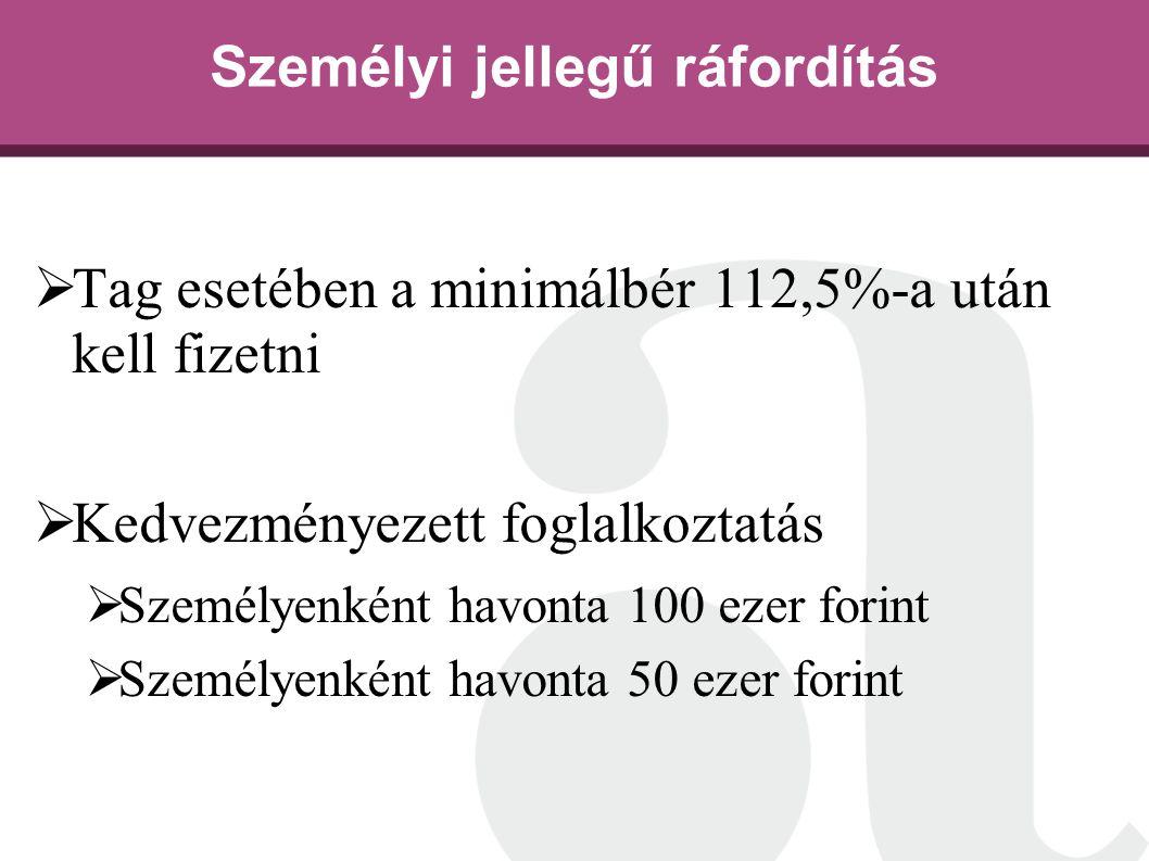 Személyi jellegű ráfordítás  Tag esetében a minimálbér 112,5%-a után kell fizetni  Kedvezményezett foglalkoztatás  Személyenként havonta 100 ezer f