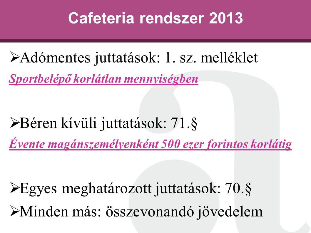 Cafeteria rendszer 2013  Adómentes juttatások: 1. sz. melléklet Sportbelépő korlátlan mennyiségben  Béren kívüli juttatások: 71.§ Évente magánszemél