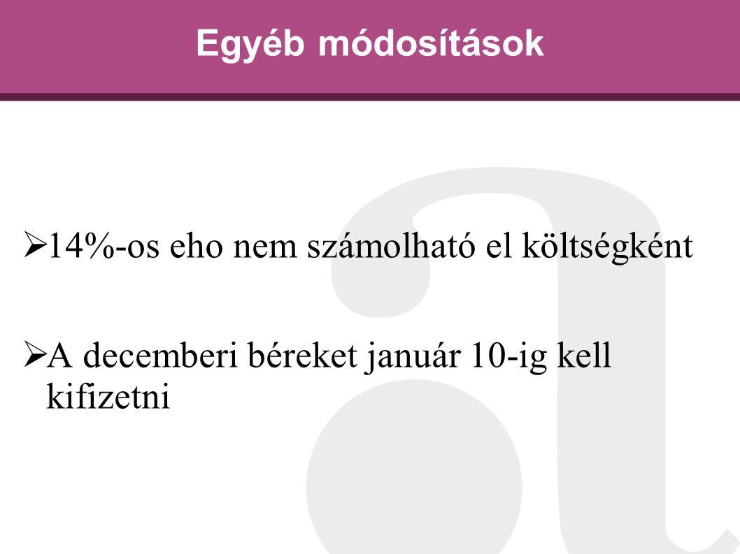 Egyéb módosítások  14%-os eho nem számolható el költségként  A decemberi béreket január 10-ig kell kifizetni