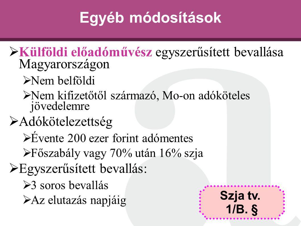 Egyéb módosítások  Külföldi előadóművész egyszerűsített bevallása Magyarországon  Nem belföldi  Nem kifizetőtől származó, Mo-on adóköteles jövedele