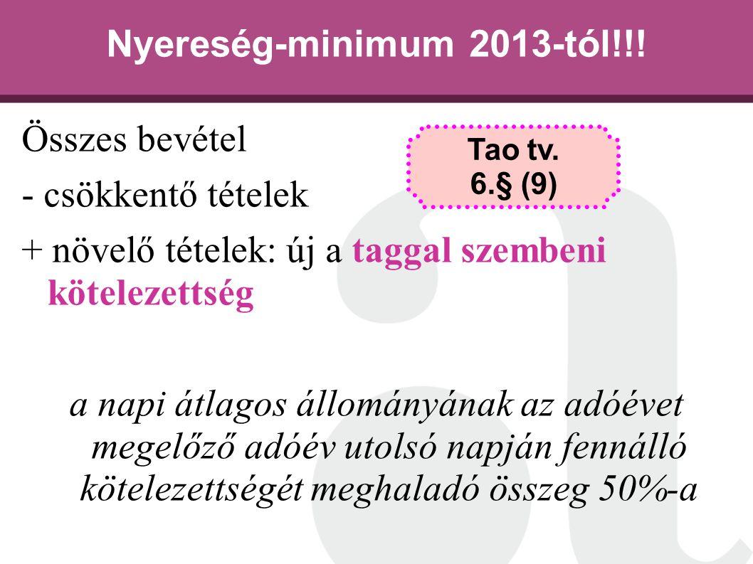 Nyereség-minimum 2013-tól!!! Összes bevétel - csökkentő tételek + növelő tételek: új a taggal szembeni kötelezettség a napi átlagos állományának az ad