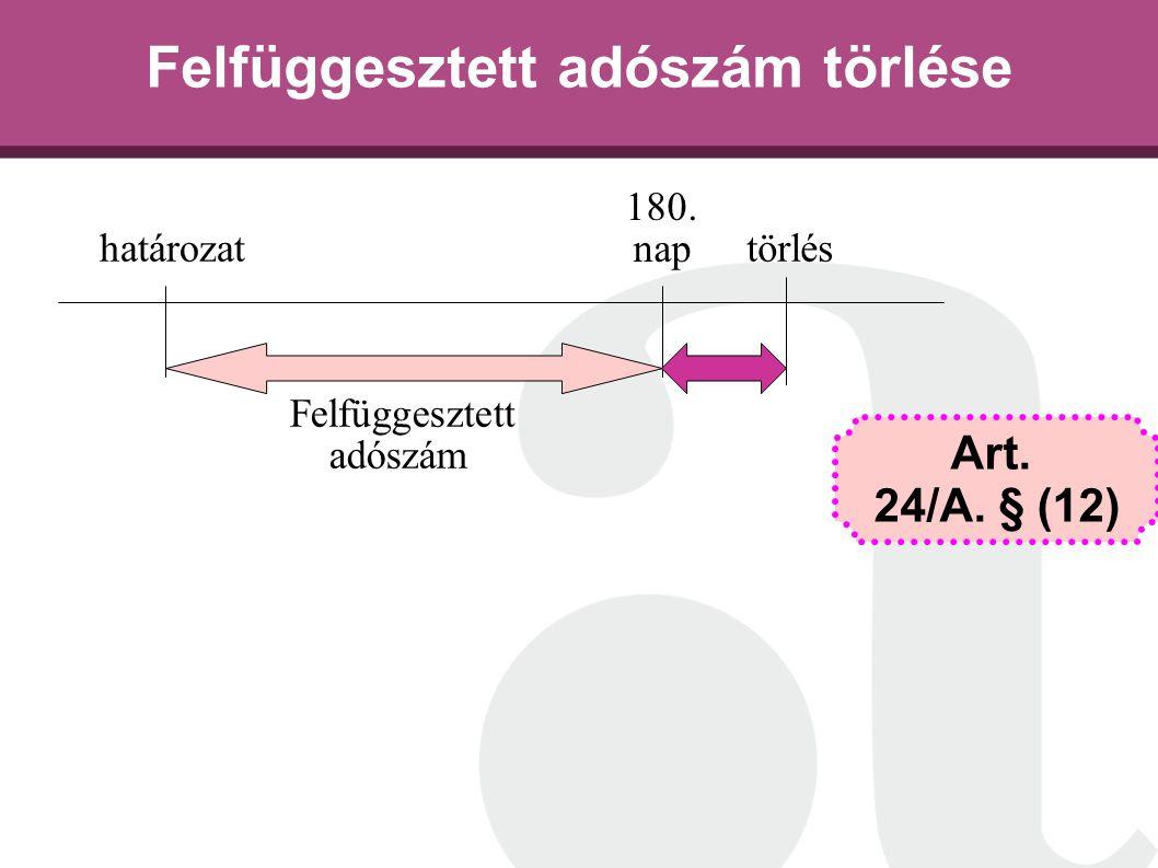 Felfüggesztett adószám törlése határozat 180. nap törlés Felfüggesztett adószám Art. 24/A. § (12)