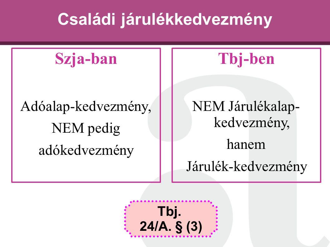 Családi járulékkedvezmény Szja-ban Adóalap-kedvezmény, NEM pedig adókedvezmény Tbj. 24/A. § (3) Tbj-ben NEM Járulékalap- kedvezmény, hanem Járulék-ked