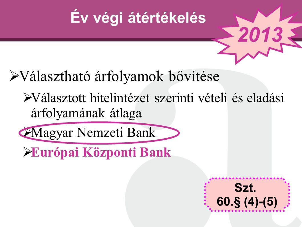 Év végi átértékelés  Választható árfolyamok bővítése  Választott hitelintézet szerinti vételi és eladási árfolyamának átlaga  Magyar Nemzeti Bank 
