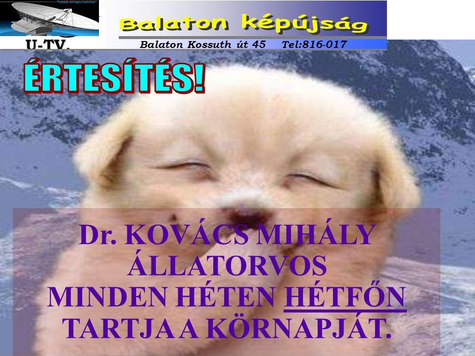 Dr. KOVÁCS MIHÁLY ÁLLATORVOS MINDEN HÉTEN HÉTFŐN TARTJA A KÖRNAPJÁT. Balaton Kossuth út 45 Tel:816-017 U-TV. U-TV.
