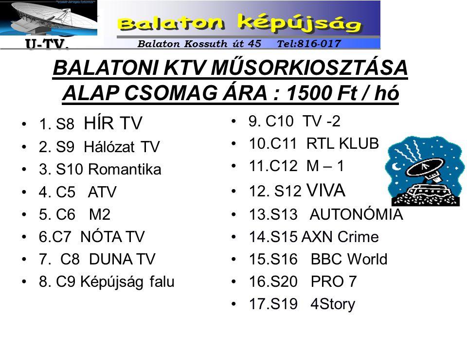 •9. C10 TV -2 •10.C11 RTL KLUB •11.C12 M – 1 •12. S12 VIVA •13.S13 AUTONÓMIA •14.S15 AXN Crime •15.S16 BBC World •16.S20 PRO 7 •17.S19 4Story •1. S8 H