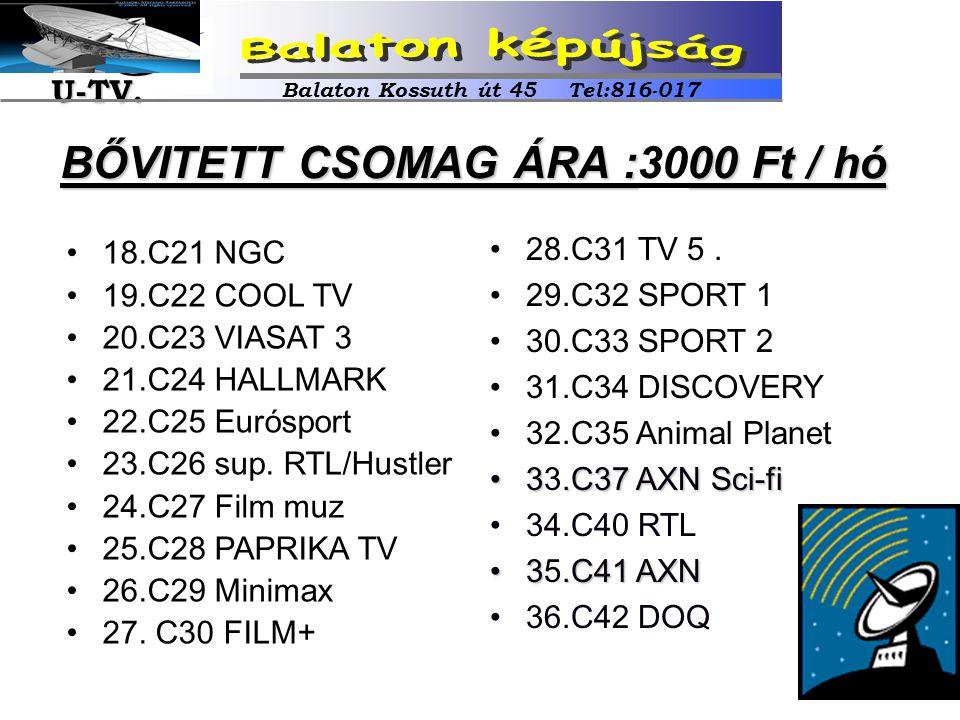 •18.C21 NGC •19.C22 COOL TV •20.C23 VIASAT 3 •21.C24 HALLMARK •22.C25 Eurósport •23.C26 sup. RTL/Hustler •24.C27 Film muz •25.C28 PAPRIKA TV •26.C29 M