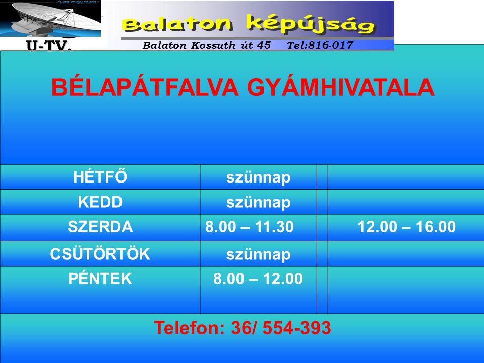 BÉLAPÁTFALVA GYÁMHIVATALA HÉTFŐszünnap KEDDszünnap SZERDA8.00 – 11.3012.00 – 16.00 CSÜTÖRTÖKszünnap PÉNTEK8.00 – 12.00 Telefon: 36/ 554-393 Balaton Ko