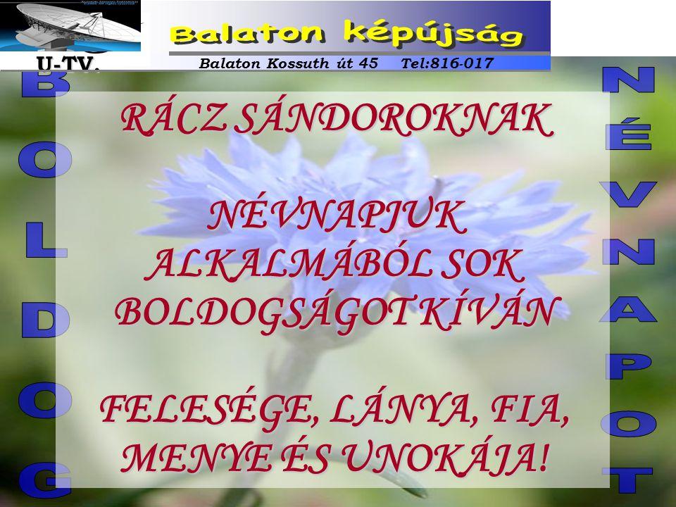 RÁCZ SÁNDOROKNAK NÉVNAPJUK ALKALMÁBÓL SOK BOLDOGSÁGOT KÍVÁN FELESÉGE, LÁNYA, FIA, MENYE ÉS UNOKÁJA! Balaton Kossuth út 45 Tel:816-017 U-TV. U-TV.
