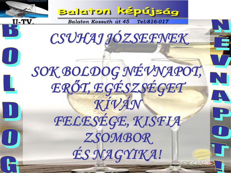 CSUHAJ JÓZSEFNEK CSUHAJ JÓZSEFNEK SOK BOLDOG NÉVNAPOT, ERŐT, EGÉSZSÉGET KÍVÁN FELESÉGE, KISFIA ZSOMBOR ÉS NAGYIKA! Balaton Kossuth út 45 Tel:816-017 U