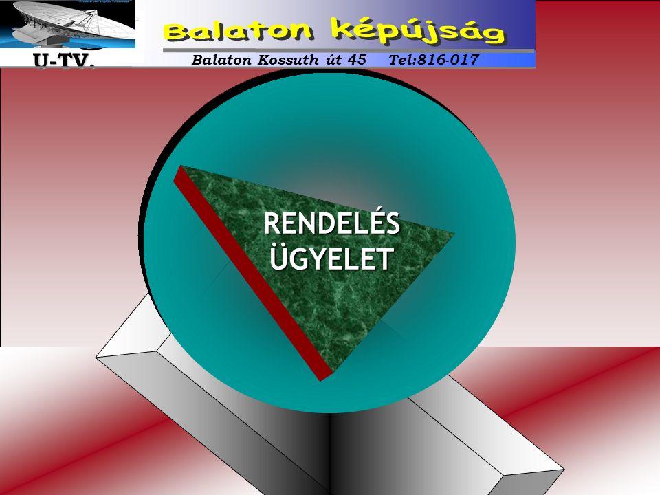 RENDELÉSÜGYELET Balaton Kossuth út 45 Tel:816-017 U-TV. U-TV.