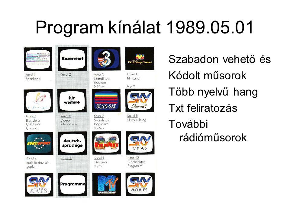 Program kínálat 1989.05.01 Szabadon vehető és Kódolt műsorok Több nyelvű hang Txt feliratozás További rádióműsorok