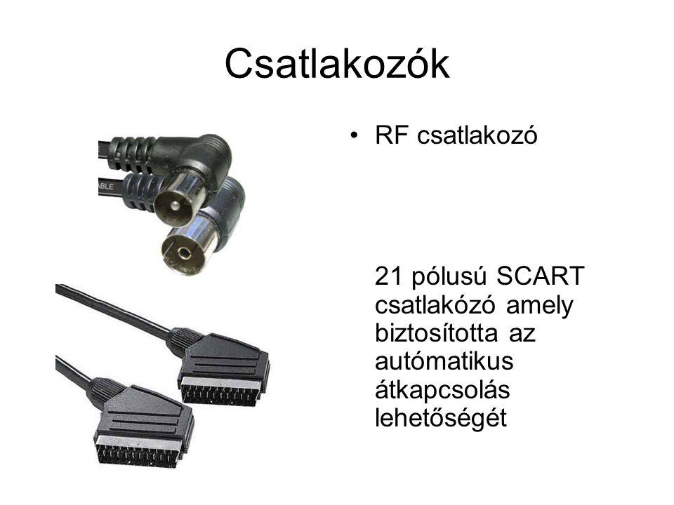 Csatlakozók •RF csatlakozó 21 pólusú SCART csatlakózó amely biztosította az autómatikus átkapcsolás lehetőségét