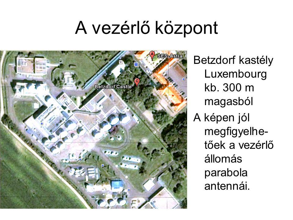 A vezérlő központ Betzdorf kastély Luxembourg kb. 300 m magasból A képen jól megfigyelhe- tőek a vezérlő állomás parabola antennái.