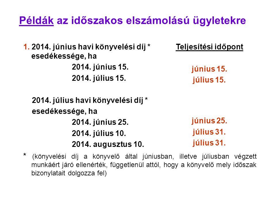 Példák az időszakos elszámolású ügyletekre 1. 2014. június havi könyvelési díj * esedékessége, ha 2014. június 15. 2014. július 15. 2014. július havi
