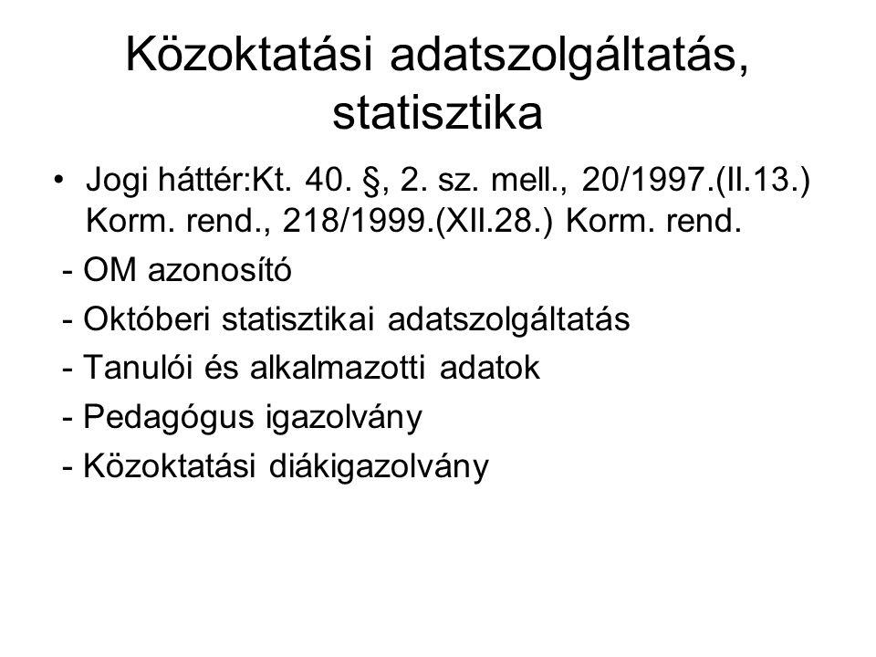 Közoktatási adatszolgáltatás, statisztika •Jogi háttér:Kt. 40. §, 2. sz. mell., 20/1997.(II.13.) Korm. rend., 218/1999.(XII.28.) Korm. rend. - OM azon