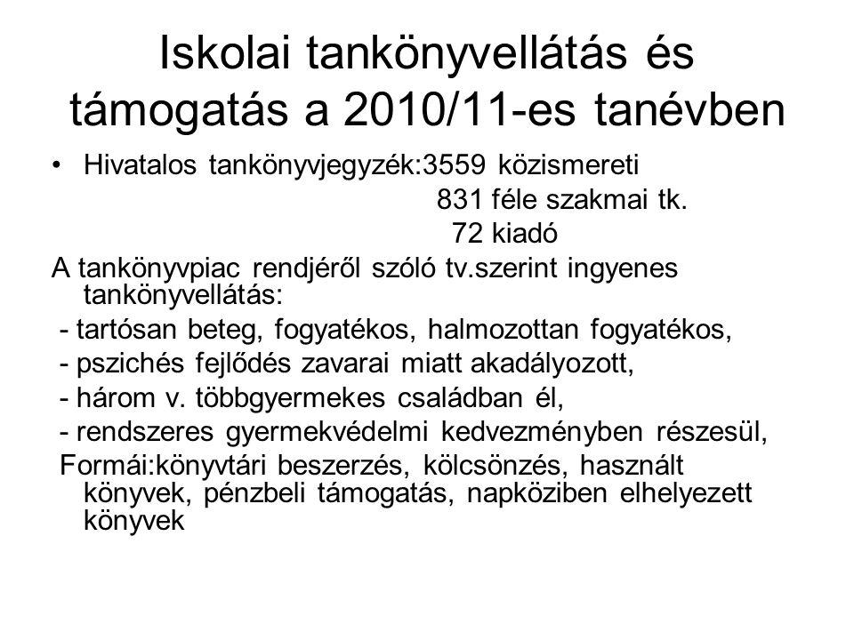 Iskolai tankönyvellátás és támogatás a 2010/11-es tanévben •Hivatalos tankönyvjegyzék:3559 közismereti 831 féle szakmai tk.