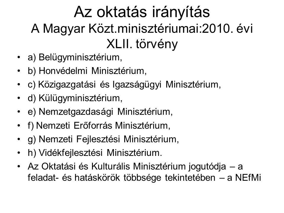 Az oktatás irányítás A Magyar Közt.minisztériumai:2010. évi XLII. törvény •a) Belügyminisztérium, •b) Honvédelmi Minisztérium, •c) Közigazgatási és Ig