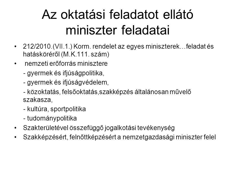 Az oktatási feladatot ellátó miniszter feladatai •212/2010.(VII.1.) Korm. rendelet az egyes miniszterek…feladat és hatásköréről (M.K.111. szám) • nemz